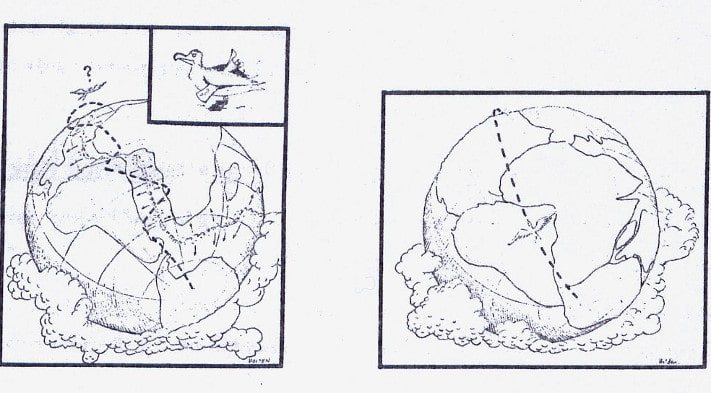 """""""Hypotesen"""" svikter selvsagt fordi Atlanterhavet begynte å åpne seg lenge før trekkfuglene begynte på sine lange ferder. NGU-nytt, nr. 1, mars 1974"""