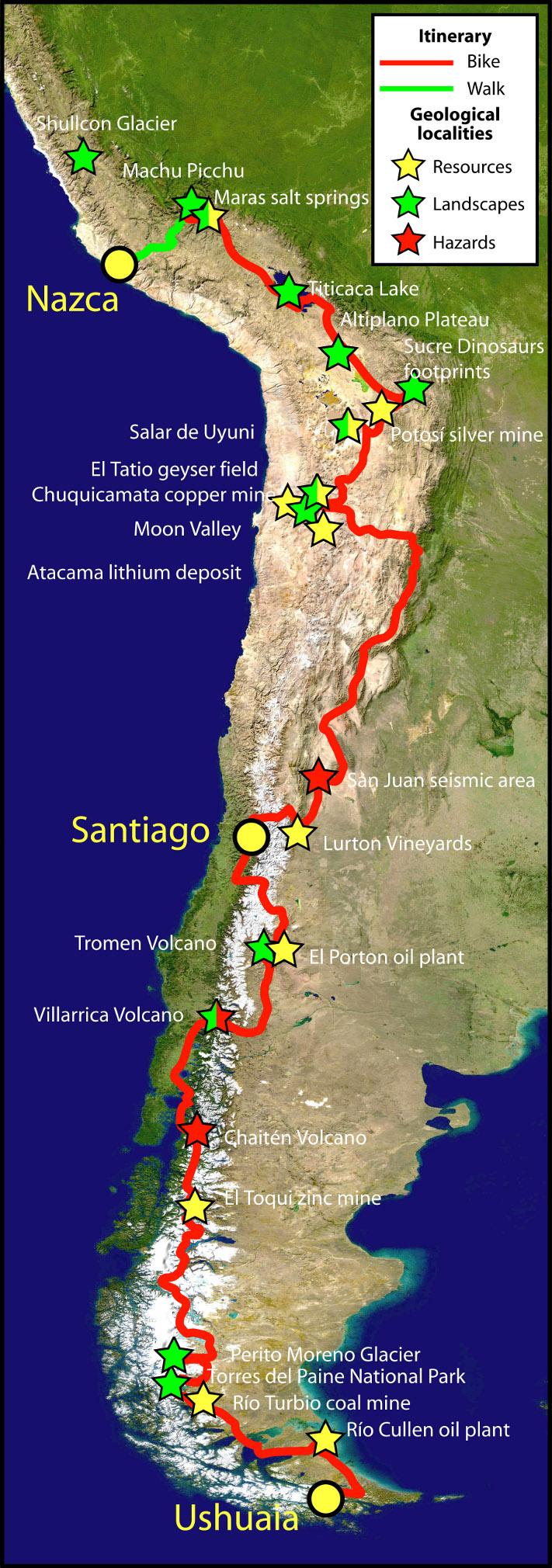 De to geologene syklet mer enn halve Sør-Amerika på langs. Starten gikk i Ushuaia lengst sør i Argentina og endte opp i Nazca i Peru. I løpet av 8 måneder var 8000 kilometer tilbakelagt på sykkel (det tilsvarer omtrent Oslo-Trondheim tur/retur åtte ganger) og 400 km på føttene. Andesfjellene ble krysset åtte ganger. Stjernene viser steder som ble besøkt som en del av formidlingsprosjektet. Gule stjerner angir steder med geologiske ressurser, grønne stjerner angir spesielt interessante landskaper, mens rød stjerner angir steder med geofarer (vulkanisme, jordskjelv). Turen gikk på langs av Andesfjellene, og prosjektet ble derfor gitt navnet Andean Geotrail. Kartografi: Andean Geotrail
