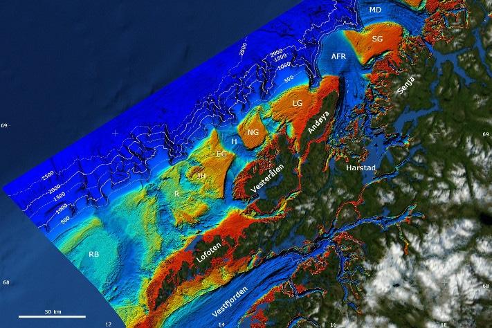 Kontinentalsokkelen utenfor Lofoten - Vesterålen - Troms er Norges karakteriseres av dype renner og store bankområder. Vi kjenner igjen navn som Røstbanken (RB), Malangsgrunnen (MG) og Nordvestbanken (NB). Illustrasjon: NGU/MAREANO