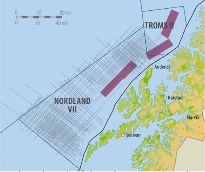Oljedirektoratet har gjennom tre år samlet inn 14 300 km 2D seismikk, 2760 km2 3D seismikk og elektromagnetiske data (CSEM) i Nordland VII og Troms II, to områder som ennå ikke er åpnet for petroleumsvirksomhet. I kombinasjon med seismikk av gammel årgang gir dette geologene et godt grunnlag for å vurdere mulighetene for å finne olje og gass, samt gjøre beregninger for å ha en formening om hvor store eventuelle olje- og gassfunn kan være. Illustrasjon: Oljedirektoratet