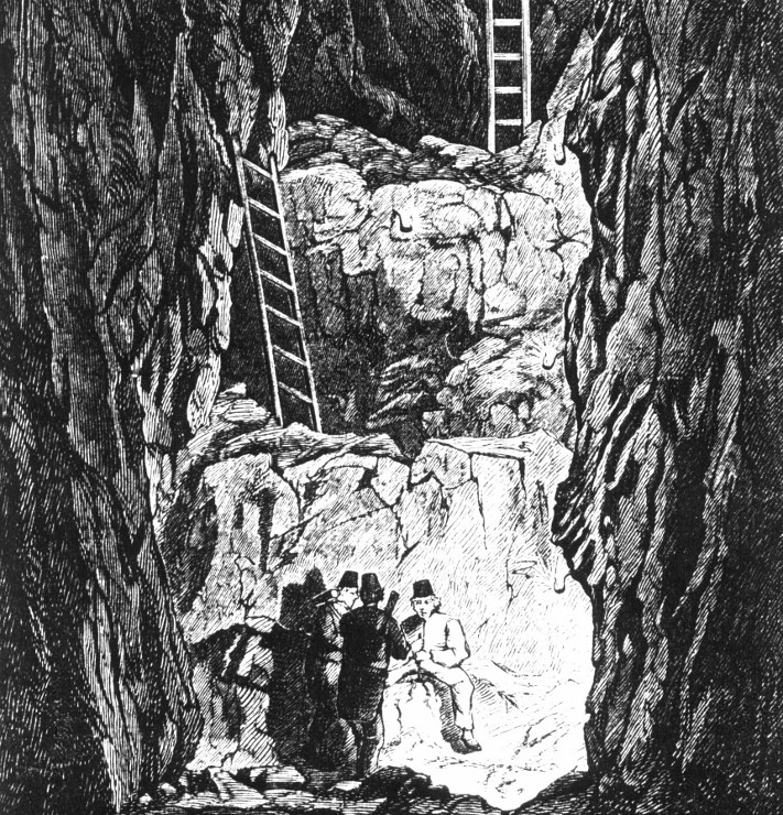 Gruvearbeidere på Kongsberg i en typisk arbeidssituasjon med håndboring av sprenghull på strosse der sølvmalmen ble brutt. Stikk av Søborg, trykt i Skillings-Magazin 1868