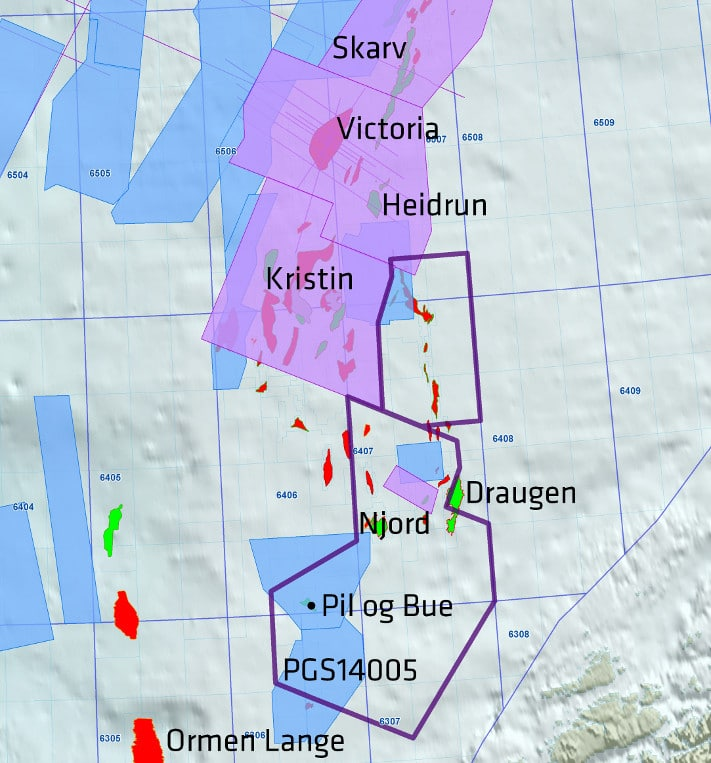 Prospektet Pil ligger lengst sør på Haltenterrassen. Kartet viser andre felt og PGS-seismikk i området. Illustrasjon: PGS
