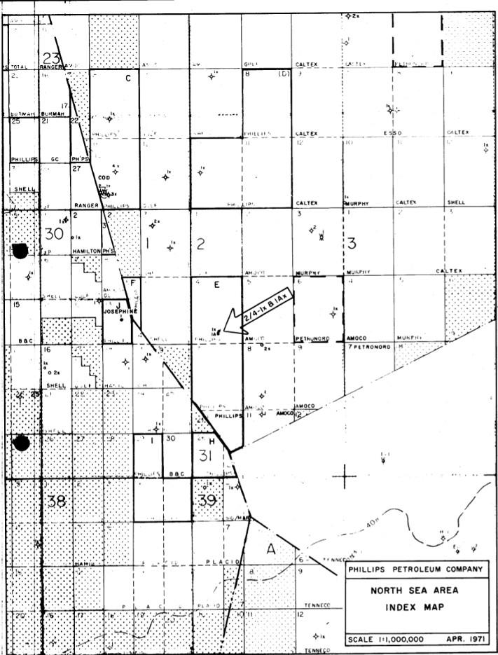 Kartet viser plasseringen av 2/4-1 og 2/4-2 og de andre brønnene som hadde blitt boret i Nordsjøen på denne tiden.  Fra Completion Report