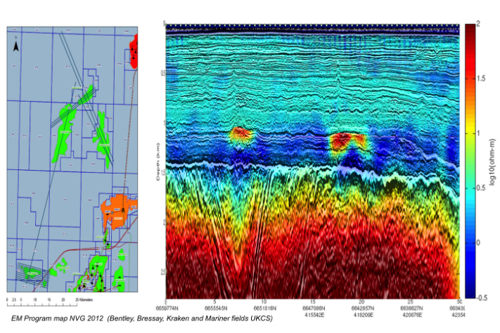 EM and seismic over two oil fields in the UK sector of the North Sea. The fields are clearly indicated. So does the crystalline basement rocks. Illustration: PGS