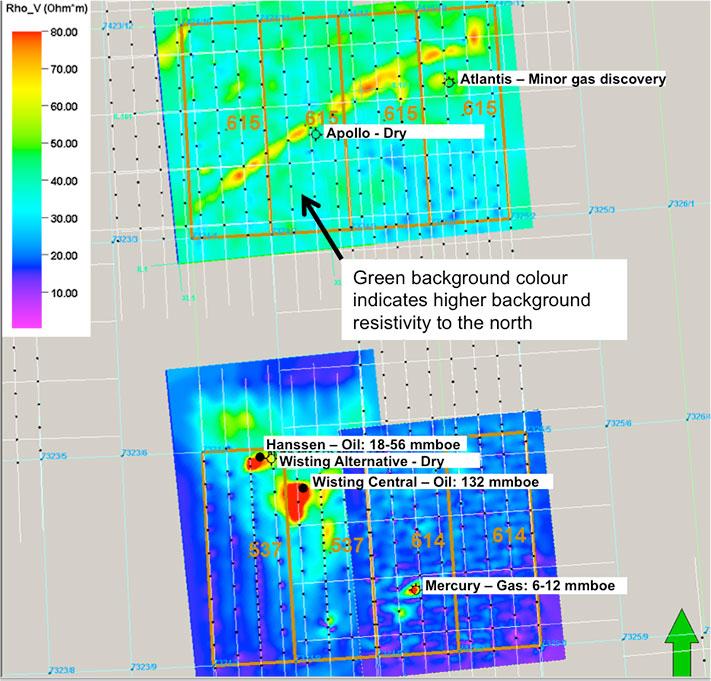 Resistivitetsanomalier i Hoop-området. De to sterkeste anomaliene er tydelig assosiert med de to funnene av olje på Wisting og Hanssen, mens Statoils tre brønner enten har en svak anomali eller mangler en anomali. © Atlantic Petroleum