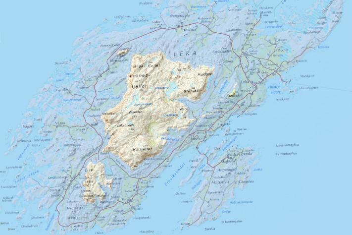 Leka fremstilt med et 110 meter høyere havnivå. Situasjonen tilsvarer øya for ca. 12.500 år siden. Illustrasjon: Fredrik Høgaas/NGU