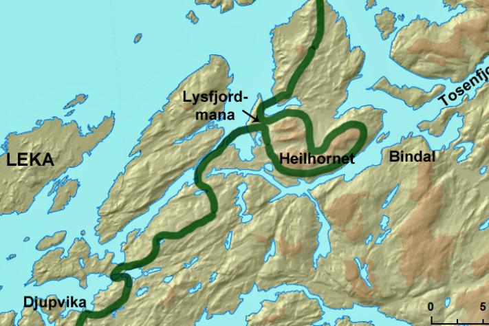 Brefrontens posisjon ved maksimal isutbredelse under yngre dryas er indikert med grønn linje. Illustrasjon: Fredrik Høgaas/NGU