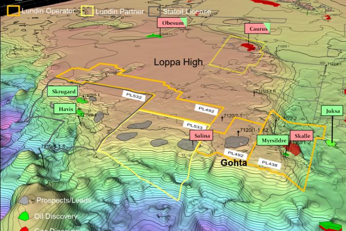 Lisenser, brønner og funn langs den vestlige marginen av Lopphøgda. Legg merke til at Lundin har gjort små funn både nord og sør for Gohta, Salina (Eni-opererte 7220/10-1, gass i to formasjoner, med opp til 40 millioner fat utvinnbare oljeekvivalenter, GEO 06/2012; side 49) og Skalle (7120/2-3S, gass i tre formasjoner i kritt og jura med anslåtte ressurser på opp mot 50 millioner fat oljeekvivalenter). Grafikk: Lundin Norway