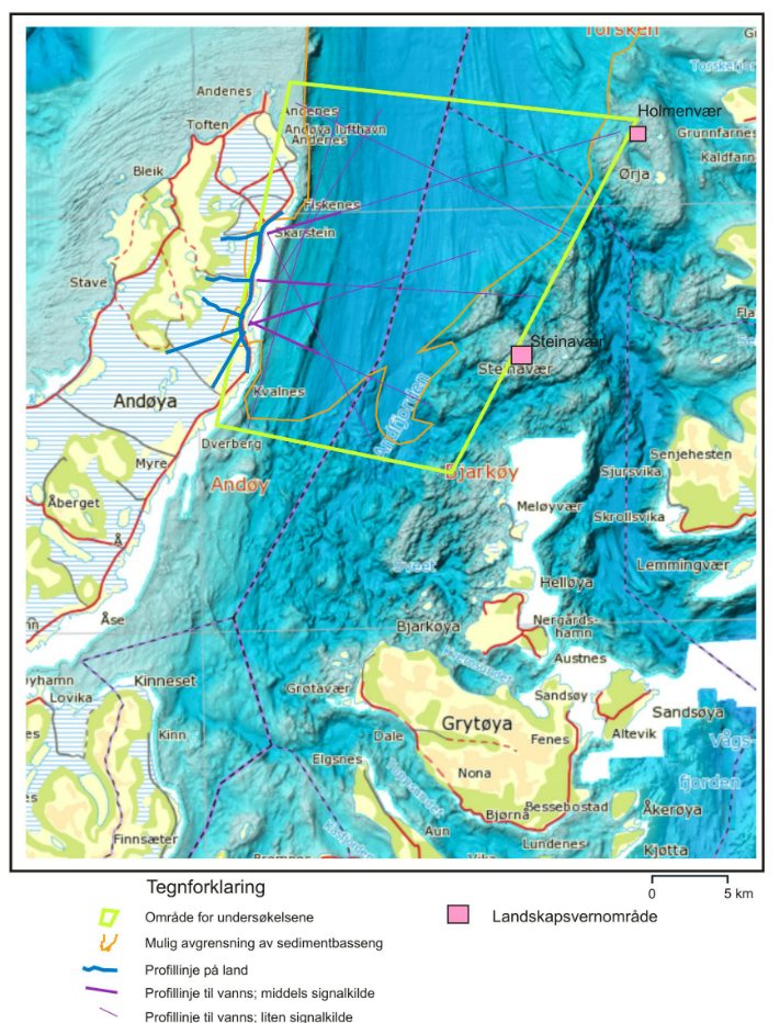 Det seismiske programmet på 135 km (fiolette linjer) vil bli knyttet til landseismikken (blå linjer). Tykk, fiolett linje indikerer en kraftigere kilde enn på resten av linjen. De som har greie på slikt vil med en gang legge merke til at programmet ikke er designet for å finne og kartlegge prospekter. © NGU