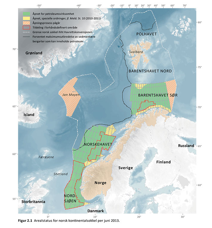 Arealstatus for norsk sokkel. Kilde: Oljedirektoratet