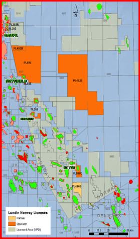 Brynhild-feltet ligger på Jærenhøyden like øst for Sentralgrabenen langt sør i Nordsjøen. Feltet bygges ut med to produksjonsbrønner og to vanninjeksjonsbrønner. Den ene vanninjeksjonsbrønnen vil produsere olje det første året. Kartet viser plasseringen av letebrønnene og brønnbanene for de fire produksjons- og injeksjonsbrønnene. Feltet bygges ut som en havbunnsinstallasjon med tilknytning til et felt på britisk side. © Lundin Norway