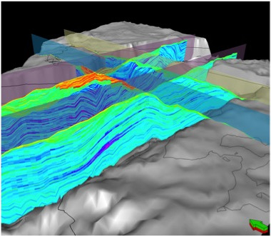 Geomodellen på Edvard Grieg-feltet. Fargeskalaen viser porøsitet, der røde, gule og grønne farger viser områdene med best reservoaregenskaper. Geomodellen beskriver reservoarets lagdeling og egenskaper som porøsitet, vannmetning og permeabilitet. Det er som regel usikkerheter i en geomodell, men jo mer nøyaktig den er, jo bedre beslutninger kan man ta om dreneringsstrategi og brønnplasseringer. På Edvard Grieg vil modellen oppdateres kontinuerlig ettersom nye data kommer inn. Dataene fra de to geopilotene blir vikgtige. © Lundin Norway