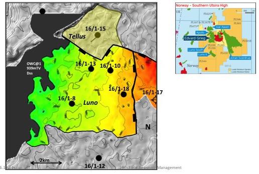 Edvard Grieg-feltet har to segmenter. Luno er størst med reservoar i hovedsakelig triassiske sandsteiner og konglomerater (en god blanding av eoliske dyner, samt grunnmarine, fluviale og alluviale avsetninger). Tellus har reservoar i forvitret basement samt en tynn pakke med krittsandsteiner over. Det går en markant forkastning mellom de to segmentene. Oljekolonnen er omtrent 80 meter. Brønn 16/1-12 sør for feltet har også påvist olje i porøse basementbergarter. © Lundin Norway