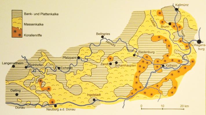 Paleogeografi mellom Regensburg og Solnhofen nord og nordvest for München.  Kilde: Bürgermeister-Müller-Museum, Solnhofen