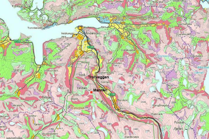 Kvartærgeologisk kart over Romsdalen og tilstøtende områder i det alpine landskapet på Nord-Vestlandet. Den røde fargen viser skredmasser, mens grønn farge er morene. Kartografi: NGU