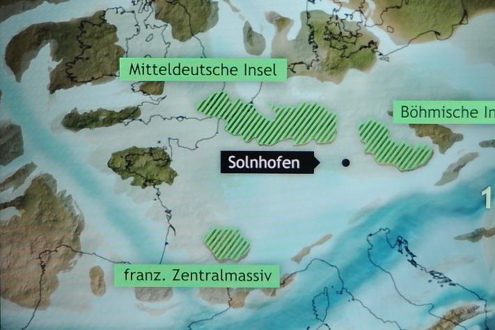 Paleogeografi i Europa i sen jura tid slik museet i Solnhofen ser det for seg. Kilde: Bürgermeister-Müller-Museum, Solnhofen