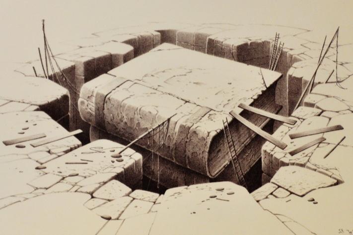 Kalksteinen i Solnhofen er også kjent fordi den ble benyttet i litografisk kunst. Foto: Halfdan Carstens