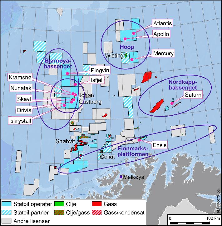 Statoil letebrønner i Barentshavet Statoils letekampanje i 2013-2014 med 11 brønner ga magert resultat. Det ble kun gjort to små funn av olje. © Statoil