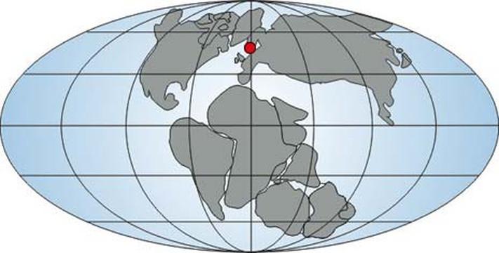 Paleogeografisk kart for jura. Oslo er merket med en rød prikk.
