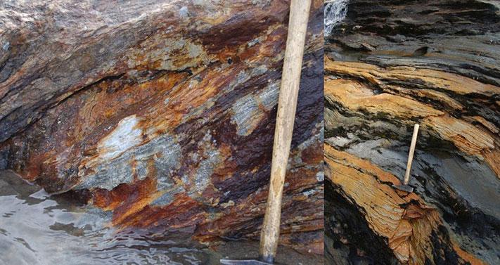 Langs elva mellom Krutvatn og Røssvatnet ligger det noen prospektive lagpakker bestående av vulkanske bergarter. Prøvetaking av forekomster i disse viser dels svært høye verdier av både sink, bly sølv og gull. Foto: Terje Bjerkgård