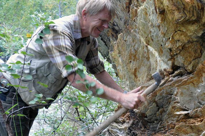 Geolog Terje Bjerkgård i NGU har tro på at det kan finnes hittil uoppdagede mineralforekomster i Hattfjelldal. Her tar han prøver i felt. Foto: Gudmund Løvø, NGU