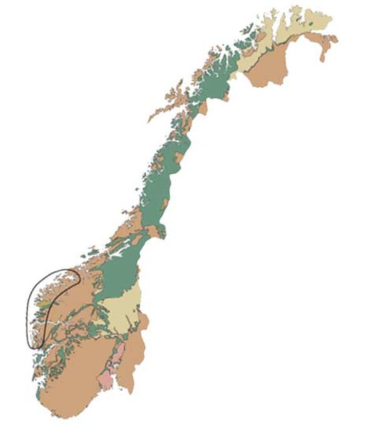 Eklogitt forekommer som lag og linser i gneiser og andre bergarter i de dypere delene av fjellkjeden, og den tunge steinen er vanlig langs hele kyststrekningen fra Bergen til Møre. Store forekomster finns først og fremst i Nordfjord i Sogn og Fjordane og i de ytre delene av Møre og Romsdal, og flere av dem er fredet. Det finnes også enkelte forekomster i Nordland og Troms.