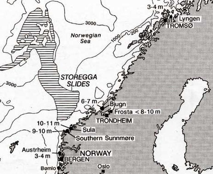 Kartskisse av Norskehavet med Eggaskredet og bølgehøydene. Punktene viser til steder som er undersøkt. Illustrasjon fra Stein Bondevik et al.