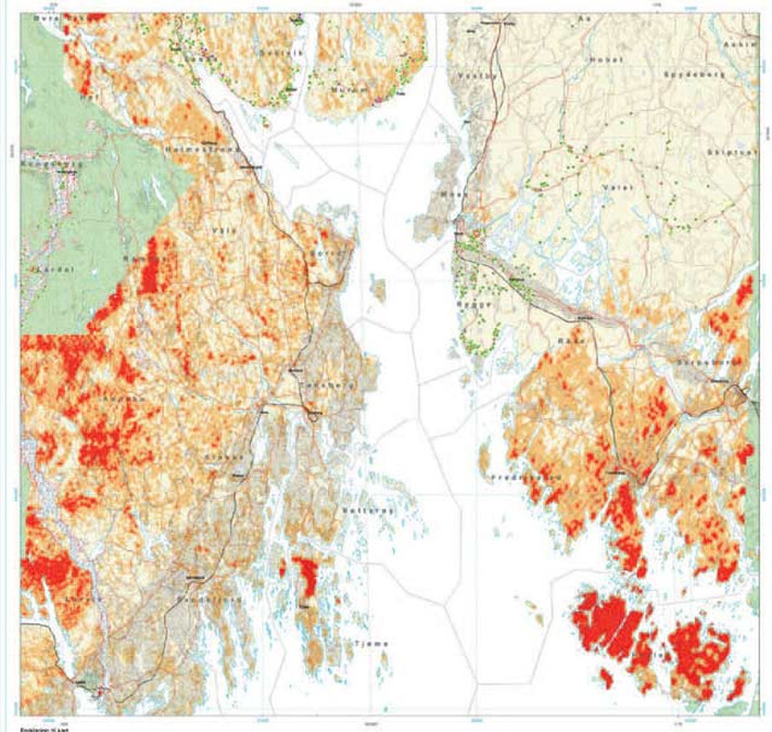 Aktsomhetskart for deler av Østlandet viser bl.a. at deler av Østfold er svært utsatt for radonstråling. Årsaken er den store granittintrusjonen som dominerer i sørlige deler av fylket. Illustrasjon: NGU