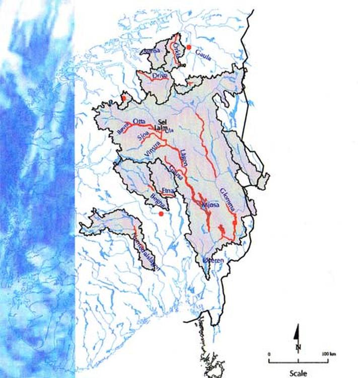 Dette viser der Storofsen var størst. Det var også flaum fleire andre stader i Sør-Noreg. ma. heilt ned til Otra på Sørlandet. © NVE og Lars A. Roald.