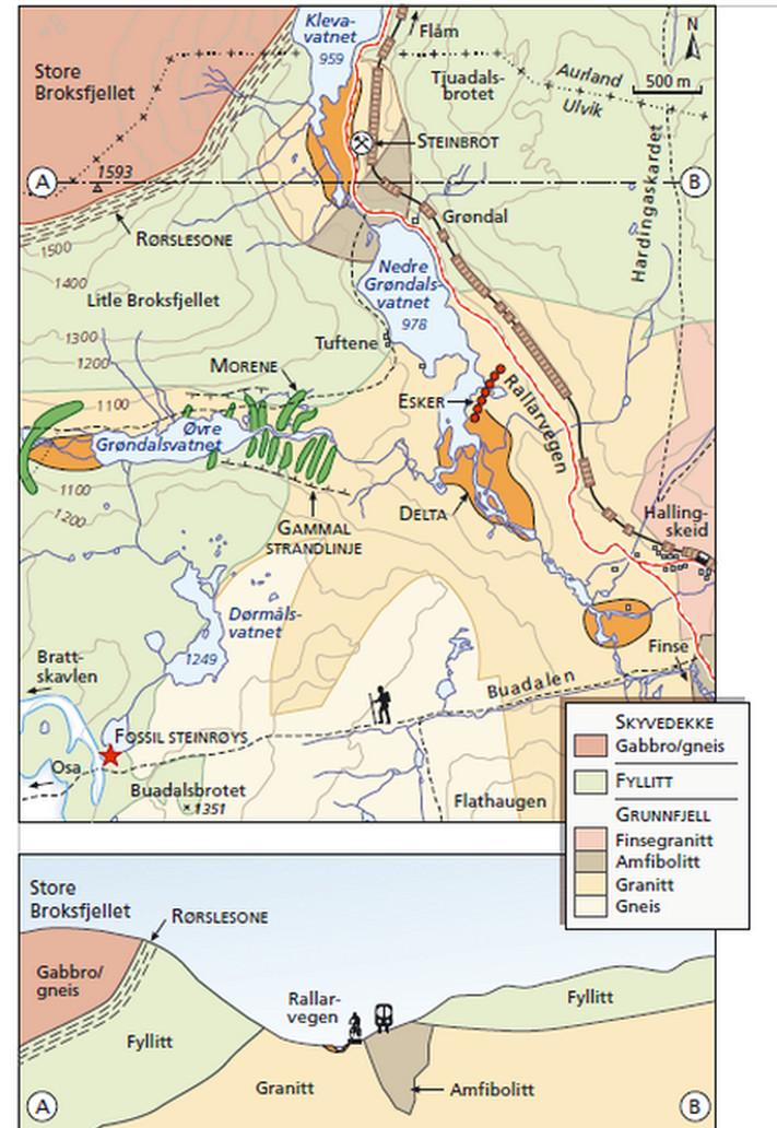 Rallarvegen kart. Fra boka Gråsteinen