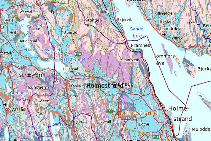 Løsmassekart over Holmestrand kommune lastet ned fra ngu.no. Den mellomblå fargen vise at tykke lag med marin leire er vanlig i kommunen.