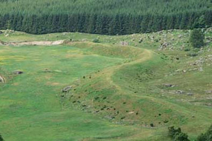 """Det er lett å forstå hvorfor denne buktende geologiske formasjonen har tatt navn etter """"ormen"""". Legg merke til de tre sauene som spaserer på toppen av eskeren. Foto: Pål Thjømøe"""