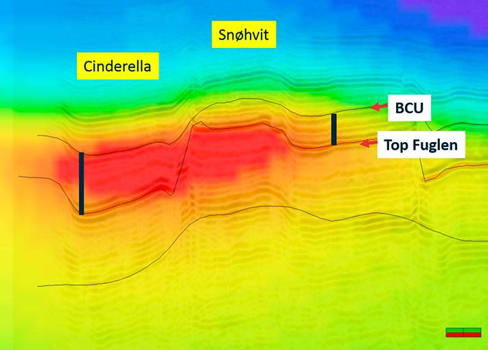 Sandsteiner midt i kjøkkenet EM-anomalien sør for Snøhvit er assosiert med en tykk øvre jurapakke. Kanskje er det også sandsteiner inne i denne sekvensen med øvre jura kildebergarter (Hekkingenformasjonen), og i så fall vil det være en god sjanse for at de er fylt med olje. © EMGS