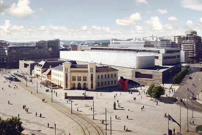 Nasjonalmuseet for kunst, arkitektur og design vil ligge på den gamle vestbanetomta bak Aker Brygge. Vestbanen blir beholdt, men bak får vi et monumentalbygg som skal kles med stein. Foto: Nasjonalmuseet