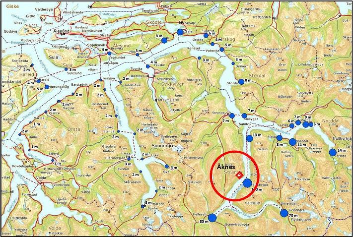 Estimerte oppskyllingshøyder i Storfjordbassenget. Illustrasjon: Åknes/Tafjord Beredskap IK