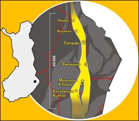 Den 40 km lange gull-linjen med gruvene Pampalo og Rämepuro ligger sørøst i Finland. Illustrasjon: Endomine