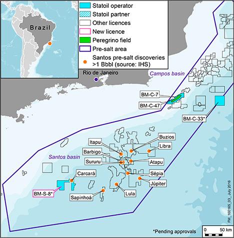 """Statoil ASA (OSE:STL, NYSE:STO) og Petróleo Brasileiro S.A. - Petrobras (""""Petrobras"""") (BVMF: PETR4, NYSE:PBR) har inngått avtale om at Statoil skal kjøpe Petrobras' eierandel på 66 prosent i lisens BM-S-8 i det svært produktive Santos-bassenget utenfor kysten av Brasil. Kjøpet omfatter en betydelig del av oljefunnet Carcará, et av de største funnene i verden de siste årene."""