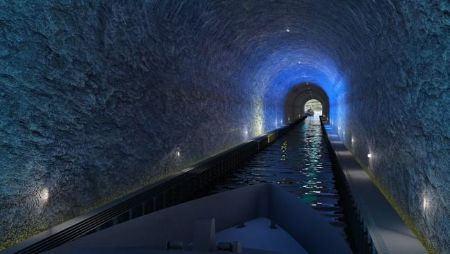 Stad skipstunnel skal romme båter på størrelse med den største hurtigruta, og blir 1,7 kilometer lang. 49 meter fra bunnen til taket, og 36 meter bred. Foto: KYSTVERKET/SNØHETTA