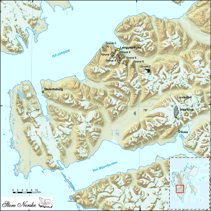 Det har vært gruvedrift på Svalbard siden tidlig på 1900-tallet. De fleste gruvene ligger i tilknytning til Adventfjorden. Unntakene er Pyramiden, Svea, Svea Nord og Lunckefjell. Kartografi: Bernt Holst, Store Norske
