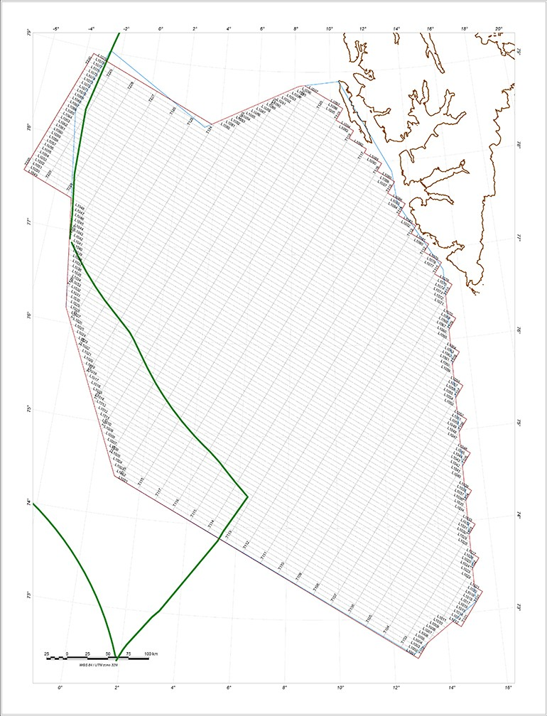 I alt 57000 profilkilometer skal flys over Knipovichryggen, de første 7200 km ble fløyet i høst. Det skraverte området på denne figuren viser hele måleområdet utenfor kysten av Svalbard. Kartografi: NGU