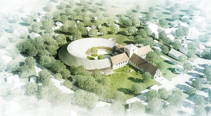 Illustrasjon av det planlagte nye Vikingetidsmuseet Illustrasjon: AART Architects